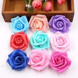 $enCountryForm.capitalKeyWord Australia - 10pcs lot 6cm Foam Artificial Rose Flower Head Diy Wreath Scrapbook Decor Supplies For Wedding Home Decoration Craft Fake Flower