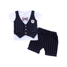 $enCountryForm.capitalKeyWord Australia - 2019 Summer Children Boys Handsome Clothing Sets Kids Casual Gentleman Bow Tie T-shirt With Fake Vest Pant 2Pcs set Baby Suits