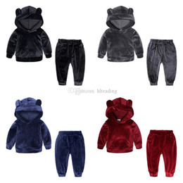 Wholesale Velvet Suit Set NZ - Baby girls boys Gold velvet outfits children Bear ear Hooded top+pants 2pcs set Autumn Winter suit Boutique kids Clothing Sets C5589