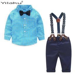 boys suspenders plaid 2019 - Yilaku Baby Boy Clothes Long Sleeve Newborn Baby Sets Infant Clothing Gentleman Suit Plaid Shirt+Bow Tie+Suspender Trous