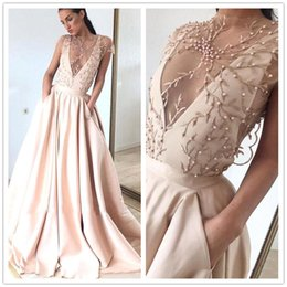 $enCountryForm.capitalKeyWord Australia - 2019 Gorgeous Sheer Neck Evening Dresses A Line Cap Sleeve Beads Pearls Appliques Satin Pageant Prom Gowns