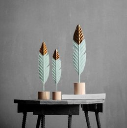 Folding Art Table Australia - Modern Feather Wooden Decorations Simple Miniature Figurines for Living Room Table Office Home Decoration Accessorie