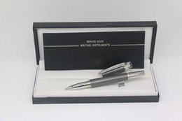 $enCountryForm.capitalKeyWord Australia - Luxury Top Quality Roller pen Silver-Grey color cover Metal material with Serial Number school office supplies writing pens