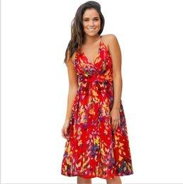 $enCountryForm.capitalKeyWord Australia - New 2019 Summer Boho Beach Dress Sexy Spaghetti Strap Backless Elastic V-Neck Party Dresses Women Draped Print Dress Vestidos
