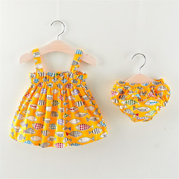 Baby Dresses Cotton For Wedding Australia - good quality baby girl summer clothes 2PCS casual holiday dress wedding dresses tutu dress party dress cotton costumes for girls