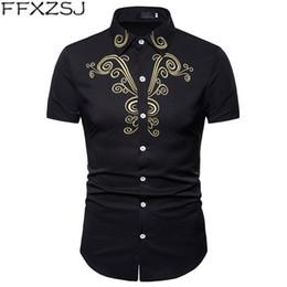 Court Shirts Australia - Summer 2019 men's royal court style embroidered lapel large size short sleeve shirt casual casual fashion shirt European size