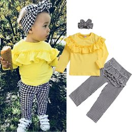 headbands bow Australia - Girl kids clothes Set yellow long-sleeved Top+Black white checked trousers+bow Headband 3 pieces sets kids designer clothes girls JY580