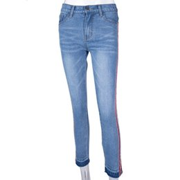 e5cebae2ef0e 2019 spring and summer fashion personality side straps tight stretch jeans  Jean stretch moulant Sangle laterale Personnalite de