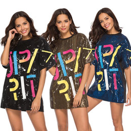 $enCountryForm.capitalKeyWord Australia - Women's Party Dresses 2019 Sequins T-shirt Plus Size Dress Loose T-shirts Glitter Tops Summer Dress Sequins Tops
