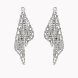 Discount vintage copper earrings dangle - Female Luxury Big Crystal Zircon Earrings Vintage Gold Silver Wedding Boho Jewelry Accessory boucle d'oreille femme