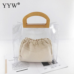 hands bags summer 2019 - 2pcs Jelly Clear Totes For Women 2019 Fashion Summer Beach Bag PVC Transparent Handbag Open Top Handle Hand Bags Differe