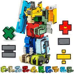 Number Blocks Australia - 15pcs Assembling Building Blocks Educational Toys Action Figure Transformation Number Deformation Robot Toy For Children J190513