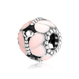 Vintage glass bangles online shopping - New Sterling Silver Bead Charm Pink Enamel Vintage Openwork Butterfly Beads Fit Pandora Bracelet Bangle Diy Jewelry