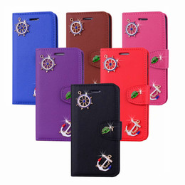 Discount note case wallet purse - Sailo Anchor Leather Wallet Case For Iphone XS MAX XR X 8 7 SE Touch 6 5 S10 e Leaf Holder ID Card Slot Pocket Flip Cove