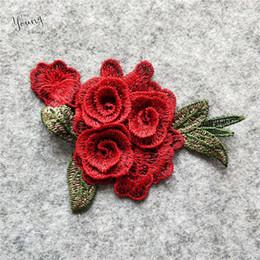 b0b81e49c0f7601 Красная роза цветочный узор Кружевной воротник изысканный Швейные Вышитые  кружевной ткани декольте аксессуары DIY аппликации Кружева 100 шт. Продать