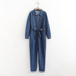 $enCountryForm.capitalKeyWord UK - Spring Women Turn Down Collar Denim Jumpsuit Lace Up Fashion Loose Jeans Long Rompers Long Sleeve Bandage Overalls