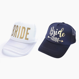 bc5a652638f Gold Print BRIDE and BRIDE TRIBE Bachelor Paty Hats Women Wedding  Preparewear Trucker Caps White Neon Summer Mesh Party Decor