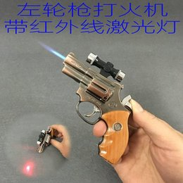 $enCountryForm.capitalKeyWord Australia - New Arrival Genuine Metal Revolver 357 Model Gun Lighter With Infrared Laser Inflatable Windproof Lighter Model Gun Torch
