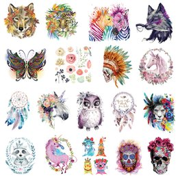 $enCountryForm.capitalKeyWord NZ - Cartoon Flower Skull Wolf Patches Heat Transfer Patch DIY T-Shirt Backpack Jacket Lovely Ironing Heat Transfer Sticker Washable