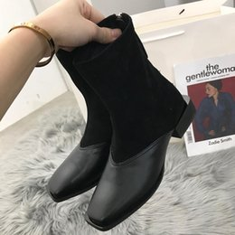 Discount brown thick heels open toe square toe patchwork sock boots stretch flock slip-on thick heel riding knight boots leather non-slip women bottes
