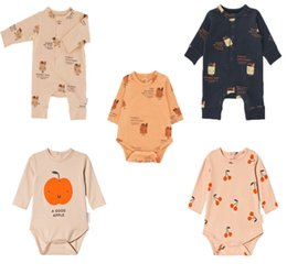 bobo fashion 2019 - 2019 Autumn Baby Boys Rompers Bread Cherry Jumpsuits Children Clothes Infant Toddler Cartoon Girls Clothing Fashion Bobo