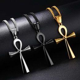 $enCountryForm.capitalKeyWord Australia - Religion Egyptian Ankh Crucifix Necklaces Pendants Stainless Steel Symbol of Life Cross Necklaces Jewelry Gifts XLCT012