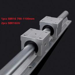 Linear Rail Cnc Australia - 1pcs SBR16 700mm 800mm 900mm 1000mm 1100mm support rail linear guide + 2pcs SBR16UU linear bearing blocks for cnc router
