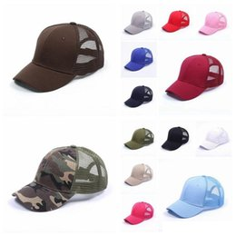 Chinese  high quality Baseball Hat Ponytail Messy Buns Trucker Pony caps Plain Baseball Visor Trucker Cap adult cap 16 colors manufacturers