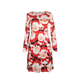 8056c557ff24a Fashion Hot Christmas Santa Snowflake Floral Printed Dress Casual Long  Sleeve Knee-Length S-5XL Plus Size Women Clothing Girl Dresses