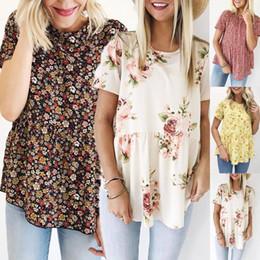 $enCountryForm.capitalKeyWord Australia - Korean Style Clothes Aesthetic Women Floral Printing Short Sleeve Round Neck Tunic T-Shirt Tops SexyTee Shirt Femme Modis