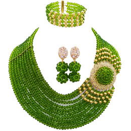 17 gold UK - Fashion Olive Green Party and Festival Evening Women Crystal Beads Necklace Sets 10C-DPH-17