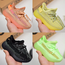 Discount kids running shoe - 2019 Baby Kids Shoes Glow In The Dark Running Shoes Static Reflective Kanye West Sneakers Clay Designer Athletic Trainer