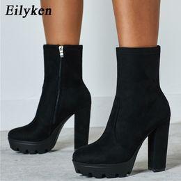 $enCountryForm.capitalKeyWord Australia - EilyKen Fashion Women Ladies Round Toe High Heel Ankle Boots Zipper Autumn Winter Block Heel Platform Booties Black size 41 42