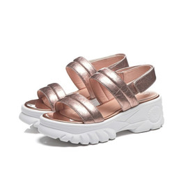 02bf2f5a32ec new woman sandals student causal shoes for summer genuine leather platform flats  fashion design high top EU size 34-39 for girl 269-7
