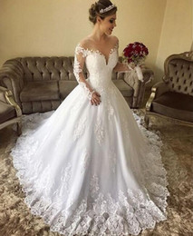 $enCountryForm.capitalKeyWord NZ - 2019 Luxury Vintage Ball Gown Off the Shoulder Illusion long sleeves Wedding Dresses lace Appliques custom made Bridal Gown robes de mariée