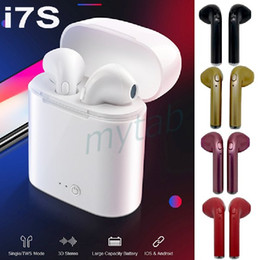 Iphone Stereo Mic Australia - i7S TWS Wireless Bluetooth 5.0 Earphone Sports Stereo Twins Earbuds With Mic Charging Case Headphones For iPhone Multi Colors