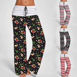 Wholesale yoga wide leg pant for sale – dress Christmas Wide Leg Pants S XL Comfy Stretch Xmas Women Long Pants Printed Drawstring Patchwork High Waist Yoga Pants OOA7321