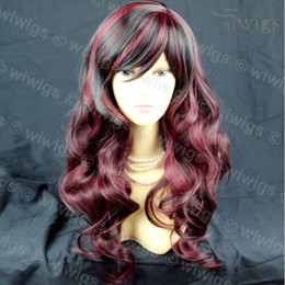 Wigs Mixed Black Burgundy Australia - Long Gorgeous Black & Burgundy Mix Wavy Skin Top Ladies Wig