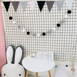 Diy girls room Decor online shopping - 2 M DIY Macaron Color Hair Ball Decor Banner Baby Room Decoration Bedding Bumpers Kids Party Flags Kids Girls Room Decor SH190916