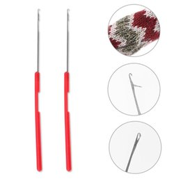 hair extension tool crochet hook NZ - Home & Garden 2pcs Plastic Handle Tongue Sewing Needle Crochet Hooks Craft Weave Knitted Tool Braiding Hair Extension Wig Craft Accessaries