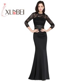 897a21bad6 Elegnt High Neck 3 4 Sleeves Robe De Soiree Longue Black Lace Evening  Dresses Long 2019 Cheap Prom Dresses Party Gown Y19042701