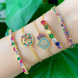 hand fatima bracelet Australia - ZVZO Fatima Hand Bracelet for Women Tree of Life Rainbow Tennis Bracelet Yellow Gold Rainbow Jewelry Pulseras Mujer Snap Button