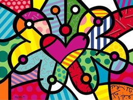 butterfly oil canvas NZ - Heart Butterfly by Romero Britto ART Painting Home Decor Handpainted Oil Painting On Canvas Wall Art Canvas Pictures 200529