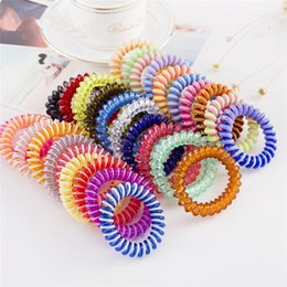 Wholesale Korean Candy Colored High Elasticity Telephone line hair Circle cm women Elastic Hair Band Multi color hair rings T9C00136