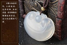 Jade Carved Flower Pendant Australia - Unique Beautiful Natural White Ice Chalcedony Hand-carved Ruyi Pendant Necklace Wholesale