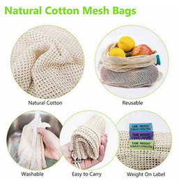 Wholesale free fedex clothes online – ideas Cotton Reusable Fruit Vegetable Shopping Mesh Bags Eco friendly Home Kitchen Storage Container With Drawstring Machine Washable free FEDEX