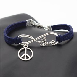 $enCountryForm.capitalKeyWord Australia - 2019 New Trendy Infinity Love Peace Symbols Round Cross Pendants Charm Bracelets Bangles Punk Navy Leather Suede Rope Jewelry Christmas Gift