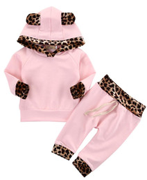 Toddler girls TracksuiTs online shopping - baby toddler pink leopard hoodie tracksuit cute top hoody shirt long pant soft cotton newborn outfit