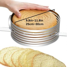 cake ring set Australia - 30cm*8.4cm Stainless Steel Adjustable Layer Cake Slicer Kit Mousse Mould Slicing Cake Setting Ring DIY Bakeware Tools Cake Tools