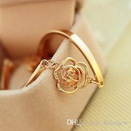 Vintage resin rose online shopping - Bracelets Bangles Vintage Simple Gold Plate Imitated Diamond Zircon Rose Flower Alloy Camellia Bracelet Charm Bracelets
